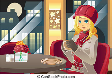 Winter woman drinking coffee - A vector illustration of a...
