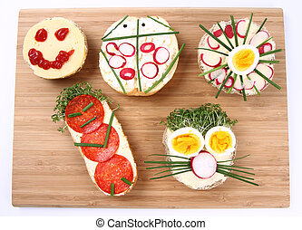 Sandwiches - Funny sandwiches for kids on a breadboard
