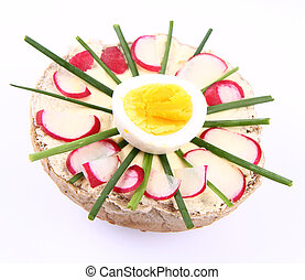 Funny sandwich-flower shaped- for kids on a white background...