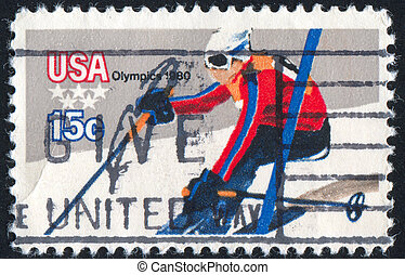 Downhill Skiing - UNITED STATES - CIRCA 1979: stamp printed...