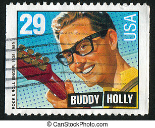 Buddy Holly - UNITED STATES - CIRCA 1993: stamp printed by...