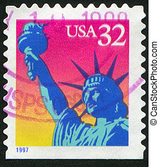 Statue of Liberty - UNITED STATES - CIRCA 1997: stamp...
