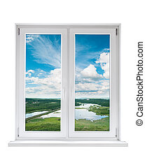 White plastic double door window with view to tranquil...