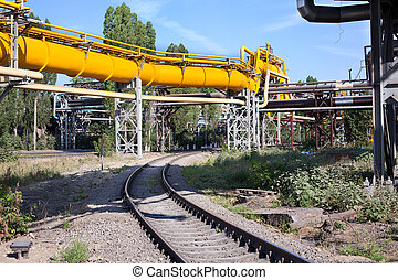 Industrial gas and oil pipelines on metal in a metallurgical...