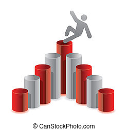 Man falling from top of graph