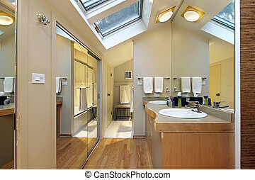 Master bath with skylights - Master bath in suburban home...