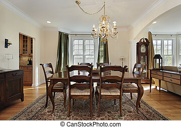 Dining room with pantry view