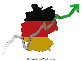 Euros graph on Germany map flag illustration