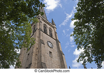 Wakefield Cathedral - The Clock Tower and spire of an...