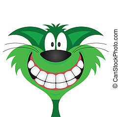Happy smiling green cat isolated on white background