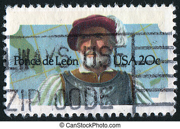 Ponce de Leon - UNITED STATES - CIRCA 1982: stamp printed by...