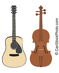 Guitar and violin on the white background