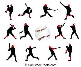 Baseball players on the white background