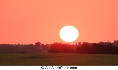 Sunset on red sky over field