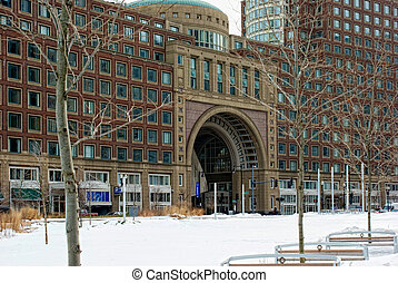 entrance to historic rowes wharf in boston massachusetts
