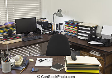 Messy Corner Office - Busy, messy corner office with piles...