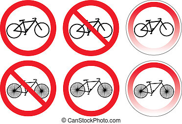 Set of variants a bicycle stop sign isolated on white...