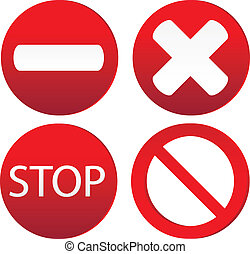 Set of variants a stop sign isolated on white background