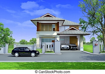 3d rendering, Exclusive two floor tropical modern house on...