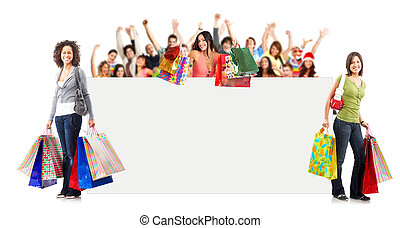 Shopping woman - Shopping Woman with placard. Isolated over...