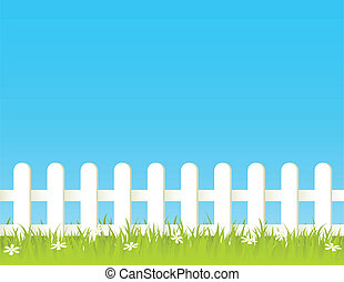 Fence - White fence with grass and flowers. EPS 8 RGB with...