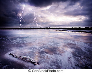 Salt Lake Storm - Lightning Strikes a salt lake