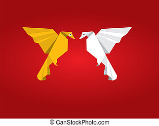 Origami couple bird - This image is a vector illustration...