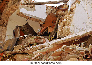 The rubble of the earthquake in Abruzzo Italy - A view of...