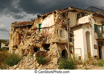 The rubble of the earthquake in Abruzzo - A view of...