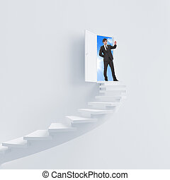 young man climbs the ladder of success and a virtual career...