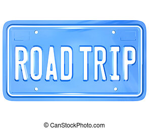 Road Trip Words on Vanity License Plate Holiday Travel - A...