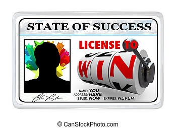 License to Win Laminated ID Card Opportunity for Success - A...
