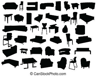 Silhouette of furniture isolated on white background