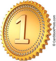 Award medal golden 1st first place - Golden medal first...