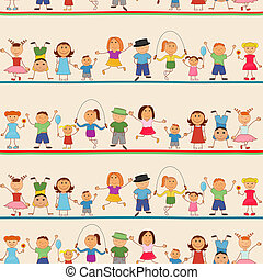 Boys and girls seamless pattern - Young boys and girls in...