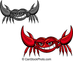Red crab with claws for mascot or seafood design