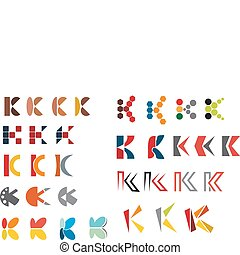 Alphabet letter K - Set of alphabet symbols and elements of...