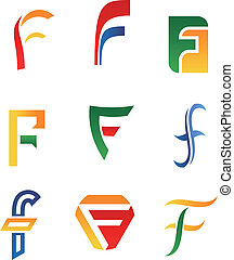 Letter F symbols - Set of alphabet symbols and icons of...