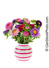 Bouquet New England Asters in vase - Colorful bouquet New...
