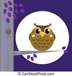 Cute Halloween Owl on Tree Branch with full moon behind -...
