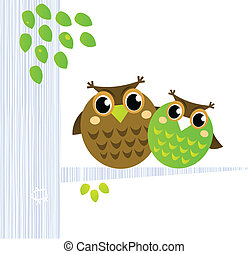 Two cute Owls sitting on the branch isolated on white