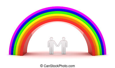 Homosexual couple under rainbow. 3d objects isolated on the...