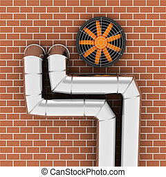 Air duct - Metal pipes and ventilator on the brick wall