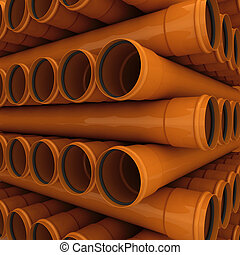 Drain pipes - Stack of brown drain pipes