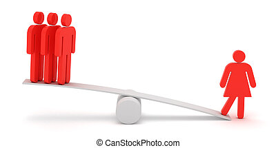 Feminism - Red figures of man and woman on the scales