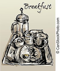 breakfast - Image dishes filled with food for breakfast