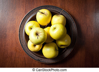 Plate of Apples - plate of apples viewed from above