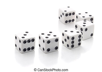 White dices isolated over white