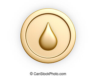 gold coins - oil drop symbol gold coin isolated on white...