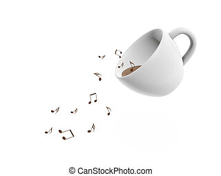 coffee cup music notes on white background